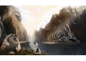 幻想,龙,骨骼,峡谷,鸡蛋,壁纸,