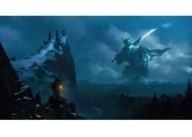 幻想,巨大的,刀,勇士,山,夜晚,风景,盾,壁纸,