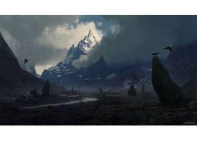 幻想,风景,乌鸦,勇士,岩石,山,山峰,壁纸,