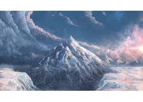 幻想,风景,云,天空,山,山峰,壁纸,
