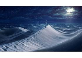 幻想,风景,冬天的,沙,妇女,脚印,沙漠,壁纸,