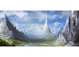 幻想,风景,自然,山,山峰,壁纸,