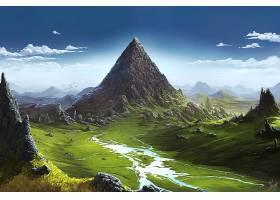 幻想,风景,山,天空,山峰,壁纸,