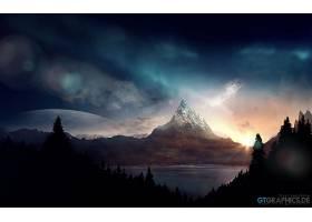幻想,风景,山,日出,早晨,黎明,山峰,壁纸,