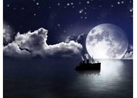 幻想,风景,月球,轮船,星星,天空,壁纸,