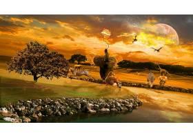 幻想,动物,幻想,动物,大草原,壁纸,