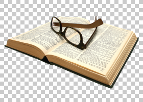 打开的陈旧的书本书籍与眼镜