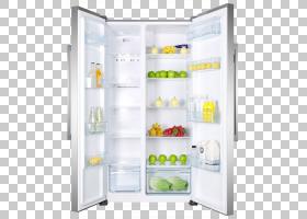 打开的双开门冰箱与水果