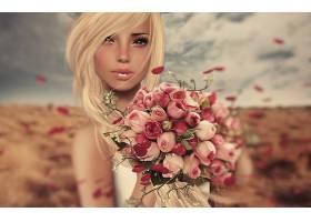 幻想,女人,妇女,女孩,白皙的,酒香,玫瑰,粉红色,玫瑰,粉红色,花,