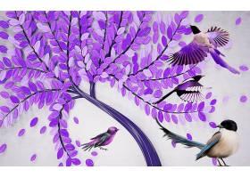 紫色树枝与小鸟主题3D家庭立体电视墙背景