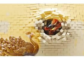凤凰与龙主题3D家庭立体电视墙背景