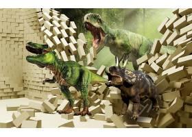 恐龙破墙而出主题3D家庭立体电视墙背景