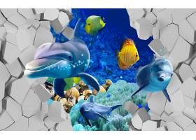 海豚破墙而出主题3D家庭立体电视墙背景