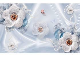 珍珠花卉主题3D家庭立体电视墙背景