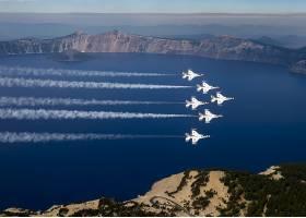 军队,一致的,州,天空,武力,雷鸟,喷气式飞机,战士,天空,显示,飞机