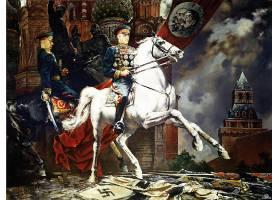 军队,艺术的,成功,天,Rokossovsky,克里姆林宫,绘画,马,俄语,俄罗