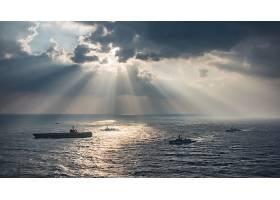 军队,一致的,州,海军,军舰,海洋,战舰,阳光,云,水,飞机,带菌者,美