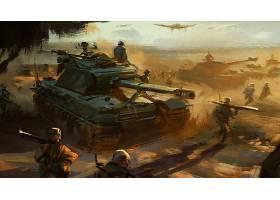 军队,艺术的,绘画,坦克,军人,壁纸,