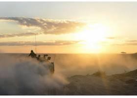 军队,坦克,坦克,沙,地平线,太阳,日出,壁纸,