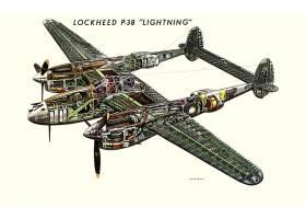 军队,洛克希德公司,P-38,闪电,军队,飞机,壁纸,(2)