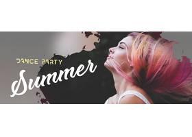 夏日派对女性侧脸banner横幅背景