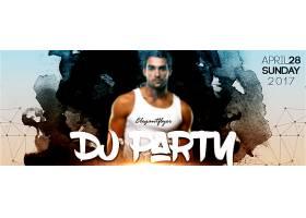 肌肉年轻男子DJ派对banner背景