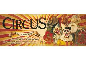 马戏团小丑大象长颈鹿复古banner横幅背景