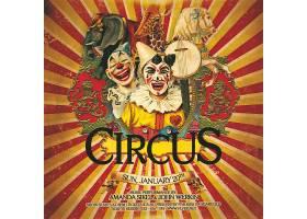 马戏团小丑大象长颈鹿复古海报设计