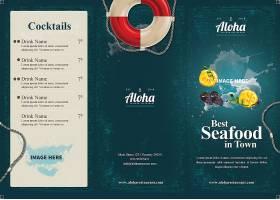 海鲜菜单三折页模板
