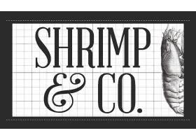 虾蟹海鲜黑白外卖送餐订货名片模板