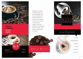 咖啡可可豆主题三折页餐厅菜单模板