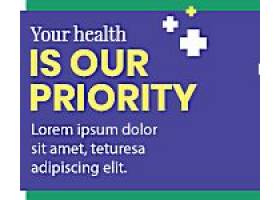 蓝黄色医疗卫生主题banner模板设计