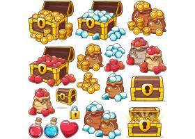 精致的手机游戏UI界面图标宝箱宝石钻石能量道具插画设计