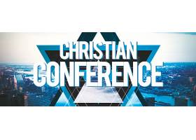 基督教会议主题繁华城市背景海报设计
