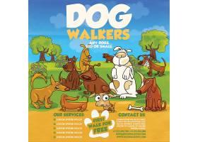 卡通狗的生活主题海报设计