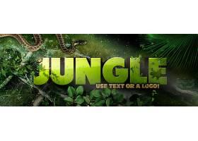 绿色森林蛇与青蛙主题banner海报背景