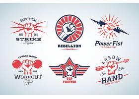 拳头握拳主题LOGO徽章图标设计