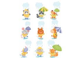 下雨天开心玩耍的动物