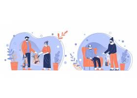 关爱老人送温暖卡通形象人物形象活动插画设计