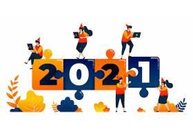 人物团队合作的2021新年倒计时主题