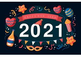 手绘2021新年快乐海报素材