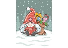卡通圣诞小女孩送礼海报背景