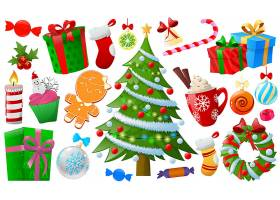 圣诞节主题装饰物品插画设计