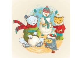清新圣诞节动物相处插画设计