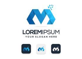 商务通用字母M主题矢量LOGO图标徽章设计