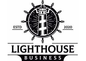 船舵灯塔主题矢量LOGO图标徽章设计