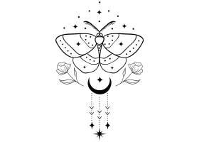 飞蛾花卉主题装饰图案设计