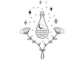 清酒瓶子主题装饰图案设计