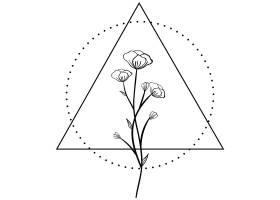 三角形植物花卉主题装饰图案设计
