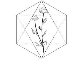 六边形花卉主题装饰图案设计